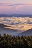Matin pittoresque de lever de soleil en montagnes au-dessus des nuages, Carpathiens, Ukraine photographie stock libre de droits
