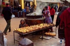 Matin près de stupa Boudhnath NÉPAL Images stock