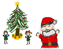 matin s Santa de gosse de Noël Image stock