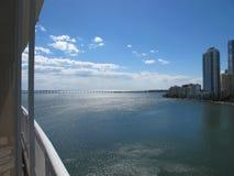 Matin sur la baie de Biscayne, Miami, la Floride Photos stock