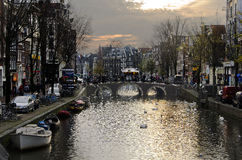 Matin sur le canal à Amsterdam Photos libres de droits