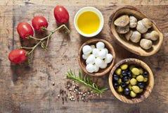 Matingredienser på träbakgrunden liten mozzarella, mus Arkivfoto