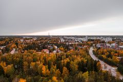 Matinkylä in the autumn with trees and houses, Espoo Finland. Wide urban view of Matinkylä in the autumn with color full trees and apartment houses, Espoo stock photos
