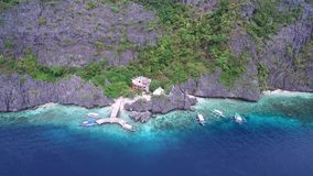 Matinloc Shrine in El Nido, Palawan, Philippines. Beautiful Landscape with Nature, Sulu Sea, Mountain and Coral Reef. Sightseeing. Part of Tour C stock video
