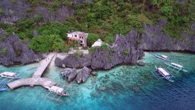 Matinloc Shrine in El Nido, Palawan, Philippines. Beautiful Landscape with Nature, Sulu Sea, Mountain and Coral Reef. Sightseeing. Part of Tour C stock video footage