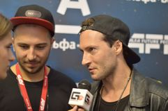 MATISSE DJ and Sadko DJ gives a press conference at Festival which runs from July 17-19 near Nizhny Novgorod. stock photos