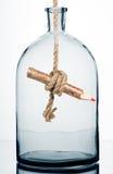Matita all'interno di una bottiglia. fotografia stock libera da diritti