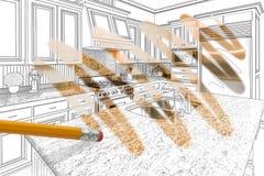 Matita che cancella disegno per rivelare progettazione su ordinazione finita della cucina fotografia stock libera da diritti