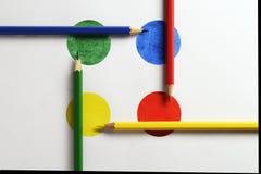 Matita colorata sui cerchi colorati Fotografia Stock Libera da Diritti