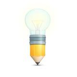 Matita con la lampadina Immagine Stock Libera da Diritti