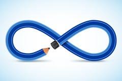 matita concettuale di immagine 3d, simbolo di infinito Immagini Stock Libere da Diritti