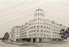 Matita dell'illustrazione dell'hotel del palazzo di Donetsk Donbass Fotografia Stock Libera da Diritti