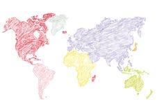 Matita della mappa di mondo dell'illustrazione di vettore schizzata Fotografia Stock