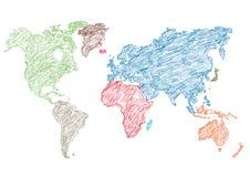 Matita della mappa di mondo dell'illustrazione di vettore schizzata Fotografie Stock