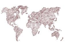 Matita della mappa di mondo dell'illustrazione di vettore schizzata Fotografie Stock Libere da Diritti
