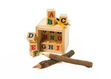 Matita di legno di colore due con il blocchetto di legno di alfabeto su fondo bianco fotografia stock libera da diritti