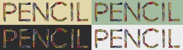MATITA di parola costruita delle matite utilizzate su quattro generi di ambiti di provenienza fotografia stock