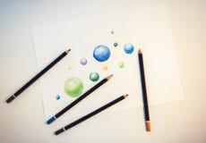 Matita e disegno, disegno a mano libera Immagine Stock