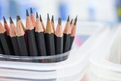 Matita nera in scatola, raccolta di legno della matita Immagini Stock Libere da Diritti