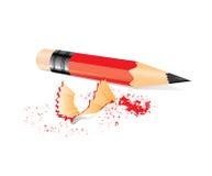 Matita rossa con i rifiuti dell'affilatrice Immagini Stock Libere da Diritti