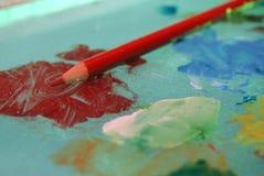 Matita rossa dell'artista Fotografia Stock Libera da Diritti