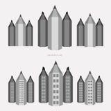 Matita - stile di versione della città in bianco e nero Fotografia Stock Libera da Diritti