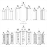 Matita - stile di versione della città in bianco e nero Immagini Stock