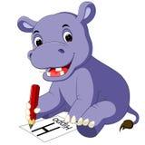 Matita sveglia della tenuta del fumetto dell'ippopotamo Fotografia Stock Libera da Diritti
