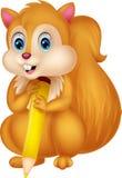 Matita sveglia della tenuta del fumetto dello scoiattolo Fotografie Stock