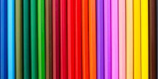 Matite colorate allineate nella fila fotografia stock libera da diritti
