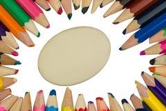 Matite colorate con una gomma nel mezzo Fotografia Stock
