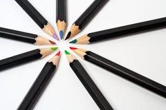 Matite colorate del banco Fotografia Stock Libera da Diritti