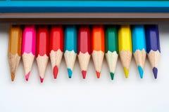 Matite colorate del banco Fotografie Stock Libere da Diritti