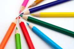 Matite colorate del banco Immagini Stock Libere da Diritti