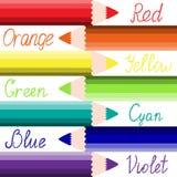 Matite colorate. Fondo di tema di creatività. Illustrazione Vettoriale