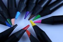 Matite colorate, macro Fotografia Stock