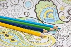 Matite colorate per gli ornamenti di coloritura Fotografie Stock Libere da Diritti