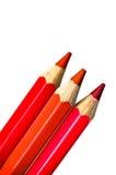 Matite colorate rosse - pastelli Fotografia Stock Libera da Diritti