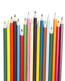 Matite colorate su bianco Fotografie Stock Libere da Diritti