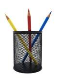 Matite colorate in un POT nero Fotografia Stock Libera da Diritti