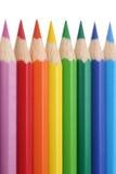 Matite colorate in una fila Immagine Stock Libera da Diritti