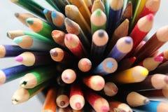 Matite colorate utilizzate Fotografia Stock