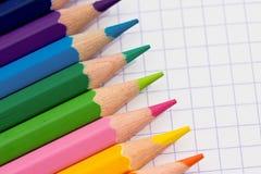 Matite Colourful - cancelleria del banco Fotografia Stock Libera da Diritti