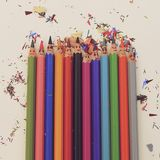 Matite colourful felici Fotografie Stock