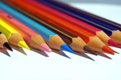 Matite del pastello di coloritura isolate su priorità bassa bianca Immagini Stock Libere da Diritti