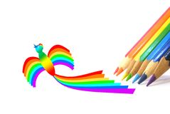 Matite di colore e un uccello-Rainbow Immagine Stock