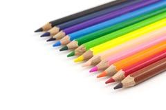 Matite di colore isolate su priorità bassa bianca Fotografia Stock