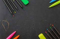 Matite e penne colorate Immagine Stock Libera da Diritti