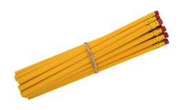 Matite gialle con un elastico Fotografia Stock Libera da Diritti