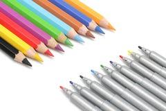 Matite multicolori ed indicatori Immagine Stock